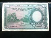 Nigeria 5 Pounds 1958 P5 British Pen 560956 Bank Currency Banknote Money