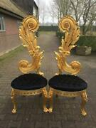 Italian Designed Chairs With Black Velvet Fabric And Gold Leaf Frame