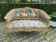 French Louis Xvi Style Sofa/ Settee/couch In Velvet Tan With Scenery
