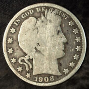 1908 D Barber Silver Half Dollar ☆☆ Circulated ☆☆ Great For Sets 131