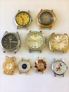 Lot Of 9 Vintage Watch Faces In Cases For Parts Or Repair Bradley Mickey Mouse