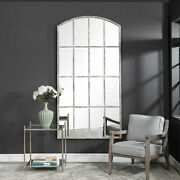 Xl Arched Windowpane Wall Mirror Floor Mirror White Washed Oversized Amiel 82in