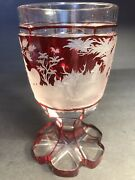 Antique Ruby Red Glass Goblet/beaker/cut To Clear/bohemian/ C.1880/ Stagnature