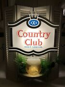 Vintage Lighted Beer Sign Country Club Malt Liquor Shield And Shutter Xxx