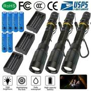 Tactical Police 990000lm 5-mode 18650 Led Flashlight Aluminum Zoom Torch Set