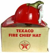 Vintage 1960and039s Texaco Gas Station Fire Chief Helmet Fireman Hat W/box Works