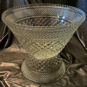 2pc Vtg Wexford By Anchor Hocking Punch Bowl And Stand Large Pressed Glass Set Euc