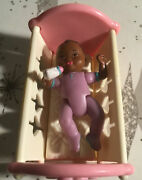 Fisher Price Loving Family African American Baby Girl Doll House W/ Cradle Bed