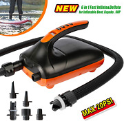 20psi Electric Air Pump With Dual Stage Inflation And Deflation For Boards Boats
