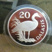 1977 Royal Mint Gambia Conservation Spur Wing Goose Silver 20 Dalasis Coin