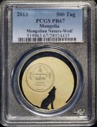 Mongolia 2013 500 Tug Gold Plated Matte Proof 1/2oz Silver Wolf Pcgs Pr67