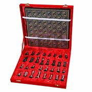 Collectible Full Brass Chess Game Board Set With 100 Brass Pieces/ Coins