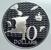 1974 Trinidad And Tobago Islands Large Vintage Old Proof Silver 10 Coin I90166