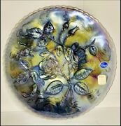 Imperial Glass Carnival Plate Smoke Colored Open Rose Pattern W/ Labels