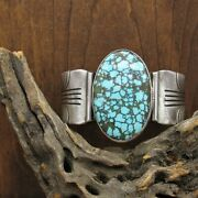 Large Vintage Navajo Sterling Silver Turquoise Cuff By Steve Yellowhorse