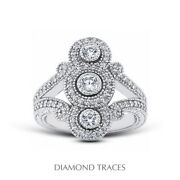 1ct E Vs1 Round Cut Earth Mined Certified Diamonds 14k Gold Halo Right Hand Ring