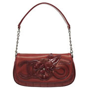 Authentic Cocomark Camellia 5 Chocolate Bar Hand Bag Red Leather 0083