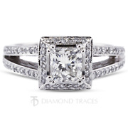 1 1/2ct D Si2 Radiant Natural Certified Diamonds 14k Gold Halo Side Stone Ring