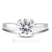 1.34 Ctw G-si2 Round Cut Earth Mined Certified Diamonds 14k Gold Side Stone Ring