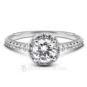 1.31ct D-vs2 Round Earth Mined Certified Diamonds 18k Gold Halo Side Stone Ring
