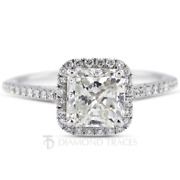 1 Ct F Si1 Princess Cut Natural Certified Diamonds 18k Gold Halo Engagement Ring