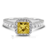 1.68ct Yellow Si1 Princess Earth Mined Certified Diamonds 18k Halo Accent Ring