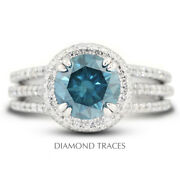 2.37ct Blue Si2 Round Natural Certified Diamonds 18k Gold Halo Engagement Ring