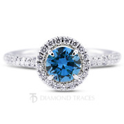 1ct Blue Si2 Round Earth Mined Certified Diamonds 18k Gold Halo Engagement Ring