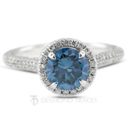 1.39ct Blue Si1 Round Natural Certified Diamonds 18k Gold Halo Side Stone Ring