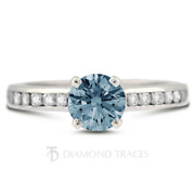 1 1/4ct Blue Si1 Round Natural Certified Diamonds Plat Classic Engagement Ring
