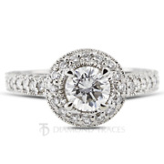 1.67ct G-vs2 Round Cut Natural Certified Diamonds 950 Plat. Halo Side Stone Ring
