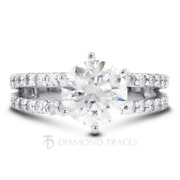 1 1/4 Ctw E Si1 Round Cut Earth Mined Certified Diamonds 950 Plat. Accent Ring