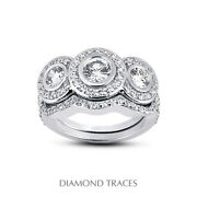 1.17ct F-si1 Round Natural Certified Diamonds 18k Halo Ring With Wedding Band