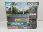Intex 18 Inch Queen Dura Beam Plus Airbed With Raised Pillow Rest - Ak 1550