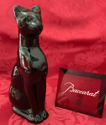 Flawless Baccarat France Glass Black Crystal Cougar Egyptian Cat Figurine