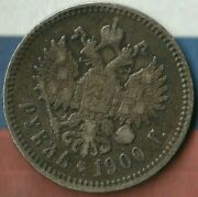1900 Russian Empire 1 Rouble90 Ag Romanov Dynasty Nice Example