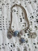 Sterling Silver Charm Bracelet With Disney's Frozen Character Charms And Beads