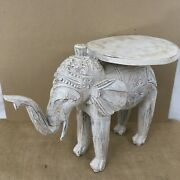 Antique Vtg Hand Carved Solid Wood Home Office Decor Elephant Plant Stand