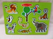 Melissa And Doug Zoo Animals Wooden Board Puzzle W/ Sound And Knobs Complete 8pc