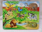 Melissa And Doug Zoo Animals Wooden Board Puzzle W/ Sound And Knobs Complete 7pc
