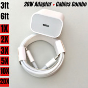 Bulk Lot 20w Usb-c Power Adapter Pd Fast Wall Charger Cable For Iphone 12 11 Xr