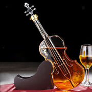 Violin Decanter Set With Wooden Stand For Liquor Bourbon Bar Accs