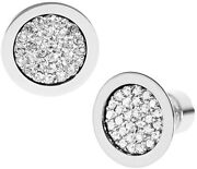 Mkj2742040 Round Silver-tone Pave Crystal Stud Disc Earrings