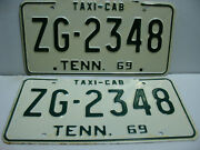 1969 Tennessee License Plate Taxi - Cab  Zg - 2348  Pair  Vintage   As4071
