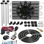 6 Row Auto Trans-mission Oil Cooler Electric Fan Adjustable Temp Controller Kit