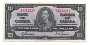✪ 1937 10 Bank Of Canada Note Bc-44b - X/d Prefix - Au Cleaned