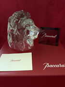 Nibnew Flawless Baccarat France Glass Crystal Tiger Lion Head Figurine Sculpture