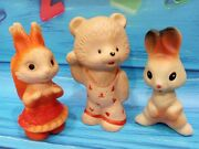 3 Antique Russian Rubber Toys Bear Squirrel And Hare