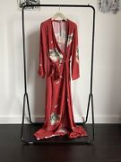 Vilshenko Rt18 Red Printed Viscose Maxi Gown Wrap Dress With A Belt