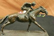 Very Large Solid Bronze Equestrian Horse With Jockey On Walnut Base Rare Find